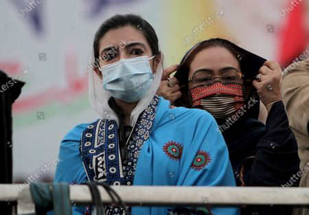 Stock Picture of Asifa Bhutto Zardari, left, a leader of the Pakistan Democratic Movement, an alliance of opposition parties, attends an anti-government rally, in Multan, Pakistan, . Despite a government ban and arrests of hundreds of activists, Pakistani opposition supporters rallied in a central city on Monday, calling on Prime Minister Imran Khan to resign over alleged bad governance and incompetence