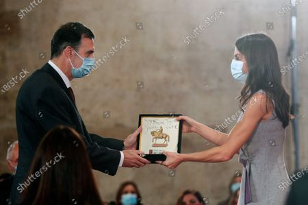 Spanish Queen Letizia delivers the Jaime I's Award in the Basic Research category to Francisco Jose Garcia Vidal (L) during the delivering ceremony of the Jaime I Awards held at Silk Exchange (lonja de los Mercaderes) of Valencia, Spain, 30 November 2020. The Jaime I Awards recognize the efforts of the promotion of scientist research.