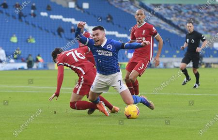 Liverpool's Neco Williams brings down Brighton's Aaron Connolly for a penalty