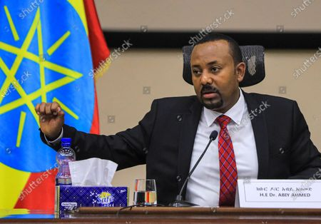 Ethiopian Prime Minister Abiy Ahmed speaks during a question and answer session in parliament, Addis Ababa, Ethiopia 30 November 2020. Ethiopia's military intervention in the northern Tigray region comes after Tigray People's Liberation Front (TPLF) forces allegedly attacked an army base on 03 November 2020 sparking weeks of unrest with over 40,000 refugees fleeing to Sudan.