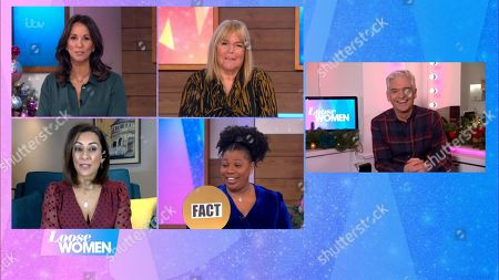 Stock Image of Andrea McLean, Linda Robson, Saira Khan, Brenda Edwards and Phillip Schofield