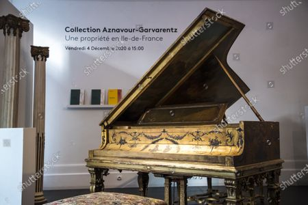 A Steinway piano belonging to Charles Aznavour is displayed as part of the sale by the Piasa auction house of the collections of the musician Georges Garvarentz, in Paris, France, 30 November 2020. Garvarentz (1932-1993), a famous songwriter and film music composer, was married to the sister of late French singer Charles Aznavour. The auction is taking place online on 04 December 2020.