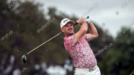 Rory Sabbatini of Slovakia, watches his drive down the second fairway during the final round of the RSM Classic golf tournament, in St. Simons Island, Ga