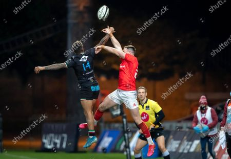 Munster vs Zebre. Munster's Sean French with Pierre Bruno of Zebre