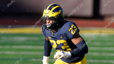 Michigan linebacker Michael Barrett plays during the second half of an NCAA college football game, in Ann Arbor, Mich