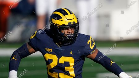 Michigan linebacker Michael Barrett plays during the first half of an NCAA college football game against Penn State, in Ann Arbor, Mich