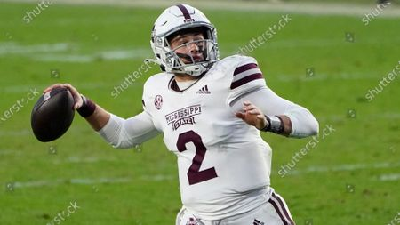 Stock Photo of Mississippi State quarterback Will Rogers (2) throws a pass against Mississippi during the second half of an NCAA college football game, in Oxford, Miss. Mississippi won 31-24