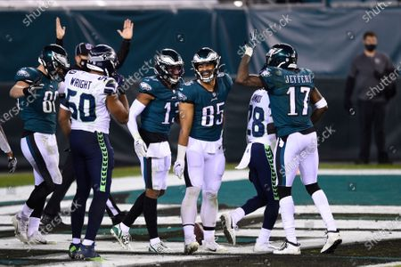 Philadelphia Eagles' Richard Rodgers (85) reacts after catching a touchdown pass during the second half of an NFL football game against the Seattle Seahawks, in Philadelphia