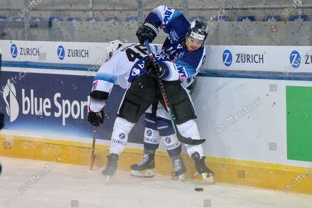 #13 Marco Mueller (Ambri) against #46 Matthias Rossi (Fribourg)
