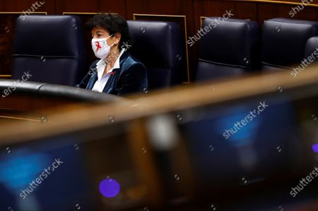 Stock Photo of Spanish Education Minister, Isabel Celaa, is seen in the Lower house in Madrid, Spain, during the 2021 Budget Debate at Parliament, 01 December 2020. The 2021 Budget continues with the amendments procedure as the Government has already 186 votes guaranteed and 2 more votes could be soon be achieved after negotiating with Cantabria's Regional Party (PRC)and Teruel Existe.