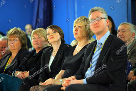 Leader of the Welsh Lib Dems Kirsty Williams (3rd left) and Lembit Opik MP for Montgomeryshire (right)