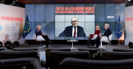 European High Representative of the Union for Foreign Affairs and Security Policy (HR/VP) , Josep Borrell (R), and his predecessors Federica Mogherini (2-R, 2014-2019) and Javier Solana (2-L,on screen, 1999-2009) attend an online event to commemorate 10 years since the creation of the European External Action Service EEAS, in Brussels, Belgium, 01 December 2020. On far left is French journalist Christine Ockrent, who led the event.