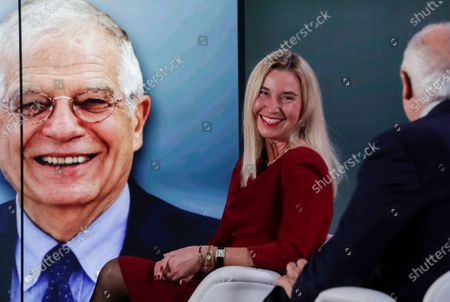European High Representative of the Union for Foreign Affairs and Security Policy (HR/VP) , Josep Borrell (R), and his predecessors Federica Mogherini (2-R, 2014-2019) attend an online event to commemorate 10 years since the creation of the European External Action Service EEAS, in Brussels, Belgium, 01 December 2020.