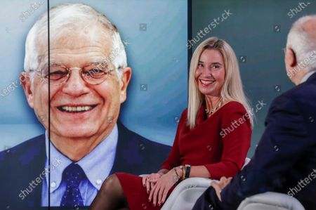 Stock Photo of European High Representative of the Union for Foreign Affairs and Security Policy (HR/VP) , Josep Borrell (R), and his predecessors Federica Mogherini (2-R, 2014-2019) attend an online event to commemorate 10 years since the creation of the European External Action Service EEAS, in Brussels, Belgium, 01 December 2020.
