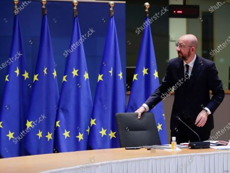 Stock Photo of European Council President Charles Michel arrives for a video conference in preparations for the EU summit in Brussels, Belgium, 01 December 2020. A meeting between European Council President Charles Michel, Czech Republic's Prime Minister Andrej Babis, President of the Republic of Lithuania Gitanas Nauseda, Danish Prime Minister Mette Frederiksen and Bulgaria's Prime Minister Book Borissov was held to prepare for EU summit of 11 and 12 December.