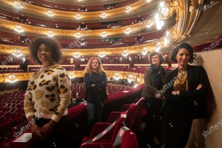Italian music director Speranza Scapucci (2-L), South African soprano Pretty Yende (L), Cuban-American soprano Lisette Oropesa (R) and French stage assistant director Marie Lambert (2-R) pose for the photographer during the presentation of Giuseppe Verdi's opera 'La Traviata' at the Gran Teatre del Liceu theater, in Barcelona, northeastern Spain, 01 December 2020. The opera runs from 05 to 30 December in the Catalan theater.