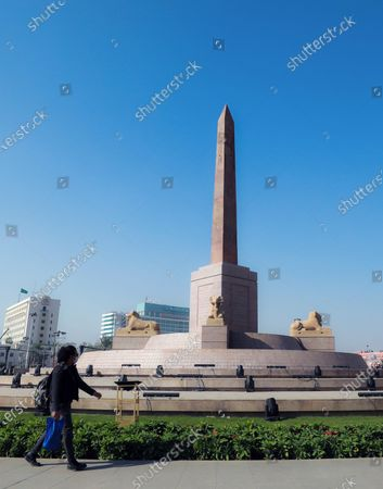 A general view of the obelisk at the center of the Tahrir Square, Cairo, Egypt, 01 December 2020. Egyptian government renovated the iconic Tahrir square, that was the stage of anti-government protests that led to the ousting of former president Hosni Mubarak in 2011. The renovation process includes the relocating of four rams from Karnak Temple's Hall of Celebration in Luxor and an obelisk from Sun Al-Hajar in the east of Egypt, a decision that raised concerns from experts and archeologists.