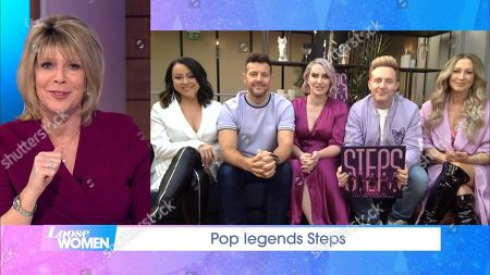 """Stock Image of Ruth Langsford, Claire Richards, Lee Latchford-Evans, Lisa Scott-Lee, Faye Tozer and Ian """"H"""" Watkins - Steps"""