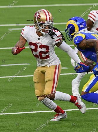 Stock Image of San Francisco 49ers cornerback Jason Verrett (22) in action during an NFL football game against the Los Angeles Rams, in Inglewood, Calif. The 49ers defeated the Rams 23-20