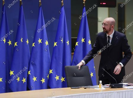 European Council President Charles Michel arrives to participate in a video conference with Czech Prime Minister Andrej Babis, President of Lithuania Gitanas Nauseda, Danish Prime Minister Mette Frederiksen and Bulgaria's Prime Minister Boyko Borissov to prepare for the upcoming EU Summit at the European Council building in Brussels