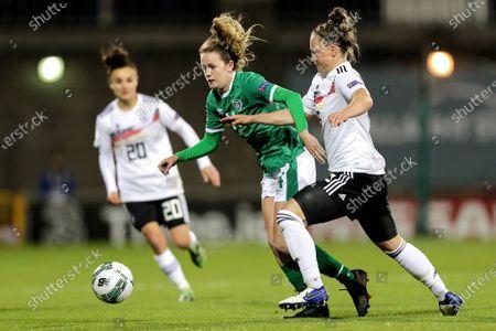 Republic of Ireland WNT vs Germany. Ireland's Heather Payne and Marina Hegering of Germany