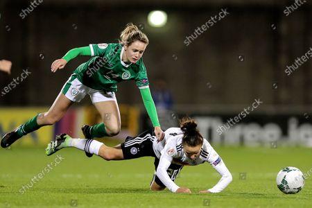 Republic of Ireland WNT vs Germany. Ireland's Heather Payne and Lina Magull of Germany