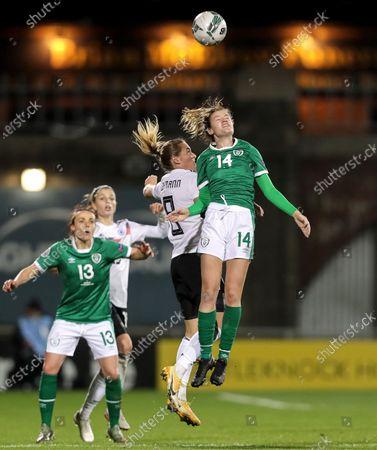 Republic of Ireland WNT vs Germany. Ireland's Heather Payne and Sydney Lohmann of Germany