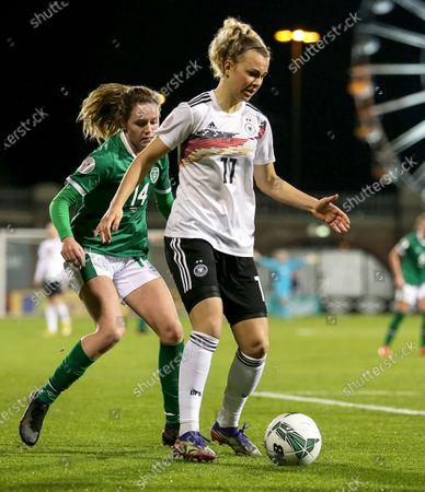 Republic of Ireland WNT vs Germany. Germany's Lena Lattwein and Heather Payne of Ireland
