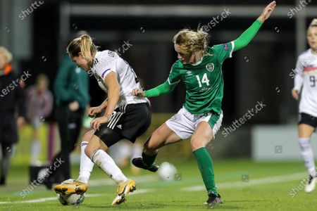 Republic of Ireland WNT vs Germany. Germany's Sydney Lohmann and Heather Payne of Ireland
