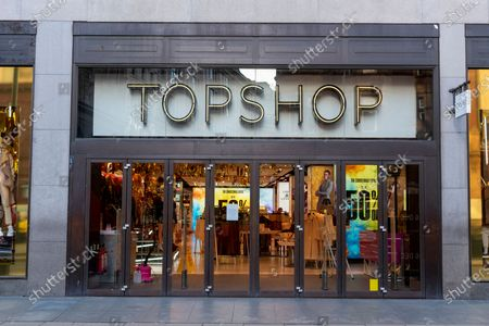Stock Picture of The Topshop flagship store on Oxford Circus on the day before re-opening from the Covid-19 second lockdown.