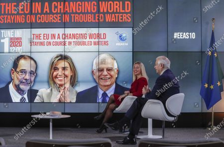 Stock Picture of European Union foreign policy chief Josep Borrell, right, and former EU high representative Federica Mogherini, second right, participate in an online event to commemorate 10 years since the creation of the European External Action Service in Brussels