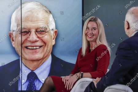 European Union foreign policy chief Josep Borrell, right, and former EU high representative Federica Mogherini, second right, participate in an online event to commemorate 10 years since the creation of the European External Action Service in Brussels