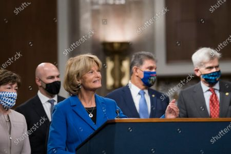 United States Senator Lisa Murkowski (Republican of Alaska) speaks at a Capitol Hill press conference in Washington, DC announcing a bipartisan $908 billion COVID emergency relief framework that is designed to break the partisan deadlock and bring economic relief to millions of Americans.