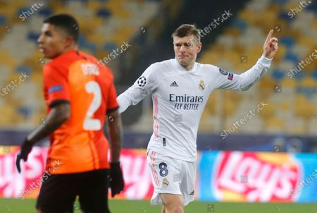 Real Madrid's Toni Kroos during the Champions League, Group B, soccer match between Shakhtar Donetsk and Real Madrid at the Olimpiyskiy Stadium in Kyiv, Ukraine