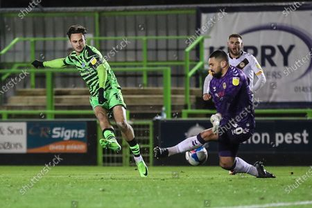 Forest Green Rovers Aaron Collins(10) shoots at goal saved by Nick Townsend of Newport County during the EFL Sky Bet League 2 match between Forest Green Rovers and Newport County at the New Lawn, Forest Green