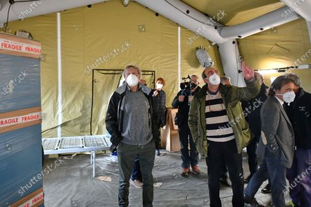 Stock Photo of Gino Strada visits the Army field hospital mounted in Crotone to deal with the Covid-19 emergency in the province.