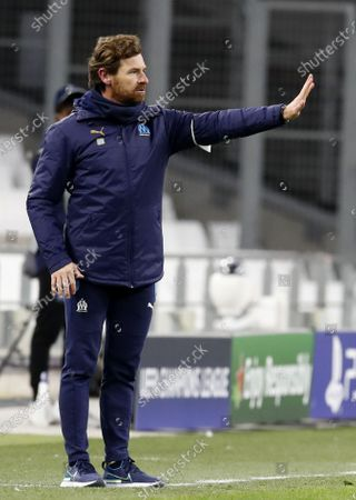 Olympique Marseille's head coach Andre Villas-Boas reacts during the UEFA Champions League Group C soccer match between Olympique Marseille and Olympiacos Piraeus in Marseille, France, 01 December 2020.