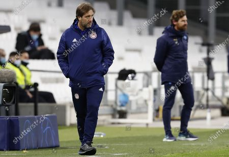 Olympiacos Piraeus's head coach Pedro Martins (L) and Olympique Marseille's head coach Andre Villas-Boas (R)  during the UEFA Champions League Group C soccer match between Olympique Marseille and Olympiacos Piraeus in Marseille, France, 01 December 2020.