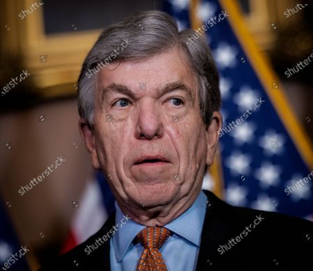 Sen. Roy Blunt(R-MO) talks to reporters as he, Senate Majority Leader Mitch McConnell(R-KY) and other Republican leaders hold a press conference in the Mansfield Room at the US Capitol in Washington, DC, USA, 01 December 2020. The Senate GOP leaders were asked about the chances of Congress passing another coronavirus relief bill along with must-pass government funding legislation.