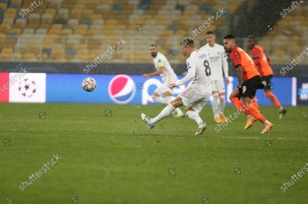 Midfielder of Real Madrid Toni Kroos is seen in action during the UEFA Champions League group stage matchday 5 gameagainst FC Shakhtar Donetsk which ended with a home win of the Ukrainian team 2:0 at the NSC Olimpiyskyi, Kyiv, capital of Ukraine.