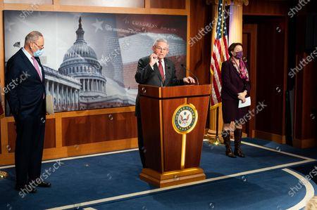 U.S. Senator Bob Menendez (D-NJ) speaking at a press conference of Democratic Senators.