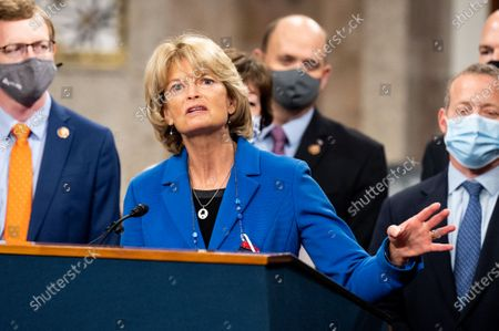 U.S. Senator Lisa Murkowski (R-AK) speaking at a press conference to introduce the COVID 19 Emergency Relief Framework at the U.S Capitol.