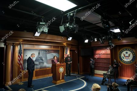 United States Senator Amy Klobuchar (Democrat of Minnesota) offers remarks while joined by US Senate Minority Leader Chuck Schumer (Democrat of New York) left, and US Senator Bob Menendez (Democrat of New Jersey), right, during a press conference at the US Capitol in Washington, DC.,.