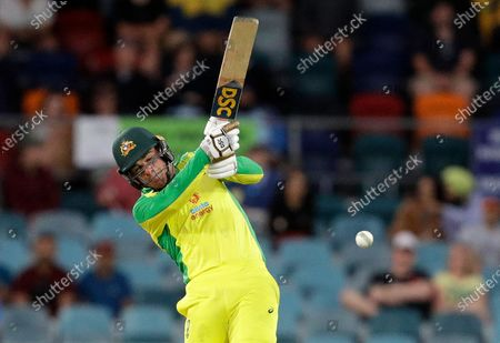 Australia's Moises Henriques bats against India during their one day international cricket match at Manuka Oval in Canberra, Australia
