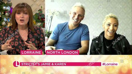 Stock Image of Lorraine Kelly, Jamie Laing and Karen Clifton