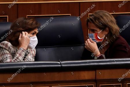 Deputy Prime Minister, Carmen Calvo (L) and Environment Minister Teresa Ribera (R) during the National Budget 2021 debate held at the Lower Chamber of Spanish Parlament in Madrid, Spain on 02 December 2020.