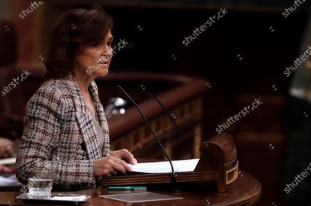 Deputy Prime Minister, Carmen Calvo during the National Budget 2021 debate held at the Lower Chamber of Spanish Parlament in Madrid, Spain on 02 December 2020.