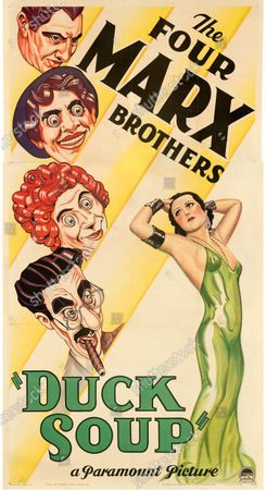 This Duck Soup poster sold for £85,200.   An extremely rare poster for the classic movie Casablanca has sold for a staggering £255,000.  The 80ins by 80ins 'six sheet' colour poster for the 1942 romantic war epic featured its stars Humphrey Bogart and Ingrid Bergman.  It led a £2.9m auction of vintage movie posters that also included a 1933 billboard for King Kong that sold for £250,000 and a 1938 advert for Dracula that went for £240,000.