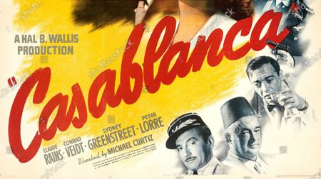 Stock Picture of An extremely rare poster for the classic movie Casablanca has sold for a staggering £255,000.  The 80ins by 80ins 'six sheet' colour poster for the 1942 romantic war epic featured its stars Humphrey Bogart and Ingrid Bergman.  It led a £2.9m auction of vintage movie posters that also included a 1933 billboard for King Kong that sold for £250,000 and a 1938 advert for Dracula that went for £240,000.