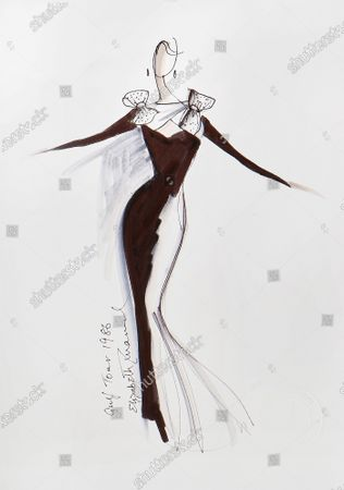 A sketch of a dress created for the Gulf tour of 1986.   Sketches by Elizabeth Emanuel showing some of Princess Diana's most iconic outfits have emerged for sale.  The seven drawings include Diana's fairytale royal wedding gown and the controversial plunging evening gown that earned her the nickname 'Daring Di' with the world's media.